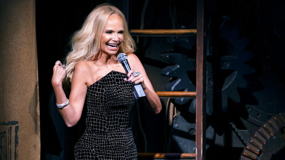 """Actress Kristin Chenoweth gives the curtain speech on the stage of """"Wicked"""" at the Gershwin Theatre Tuesday, Sept. 14, 2021, in New York. The show opened today after being closed due to Covid-19 concerns in early 2020. (AP Photo/Craig Ruttle) - Credit: AP"""
