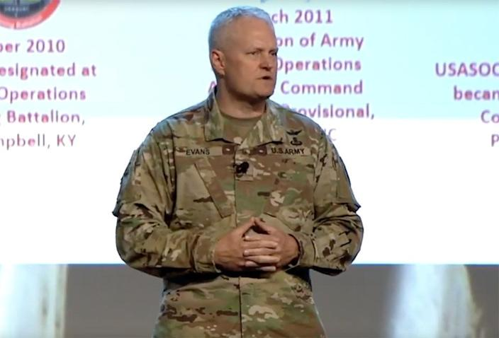 Former head of U.S. Army Special Operations Aviation Command Brig. Gen. John Evans. (Photo via YouTube)