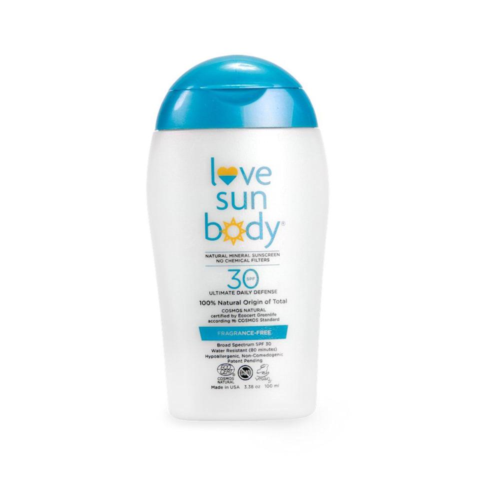 """<h3>Love Sun Body 100% Natural Origin Mineral Sunscreen SPF 30</h3><p>This fast-absorbing vegan formula blends zinc oxide with almond oil, coconut oil, and vitamin E for a scent-free SPF 30 that's safe for head-to-toe use on even the touchiest skin types — and absorbs to a dry, non-greasy finish that won't leave you slip-sliding around on the subway.</p><br><br><strong>Love Sun Body</strong> 100% Natural Origin Mineral Sunscreen SPF 30, $21, available at <a href=""""https://www.amazon.com/Love-Sun-Body-Sunscreen-Fragrance-Free/dp/B07B6KYCCW/ref=sr_1_6?keywords=Love+Sun+Body&qid=1558629839&s=gateway&sr=8-6"""" rel=""""nofollow noopener"""" target=""""_blank"""" data-ylk=""""slk:Amazon"""" class=""""link rapid-noclick-resp"""">Amazon</a>"""