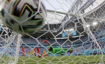 Poland's goalkeeper Wojciech Szczesny fails to make a save during the Euro 2020 soccer championship group B match between Sweden and Poland at Saint Petersburg stadium in St. Petersburg, Russia, Wednesday, June 23, 2021. (AP Photo/Dmitri Lovetsky, Pool)
