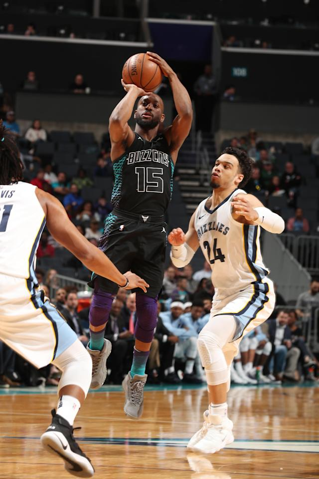CHARLOTTE, NC - MARCH 22: Kemba Walker #15 of the Charlotte Hornets shoots the ball against the Memphis Grizzlies on March 22, 2018 at Spectrum Center in Charlotte, North Carolina. (Photo by Kent Smith/NBAE via Getty Images)