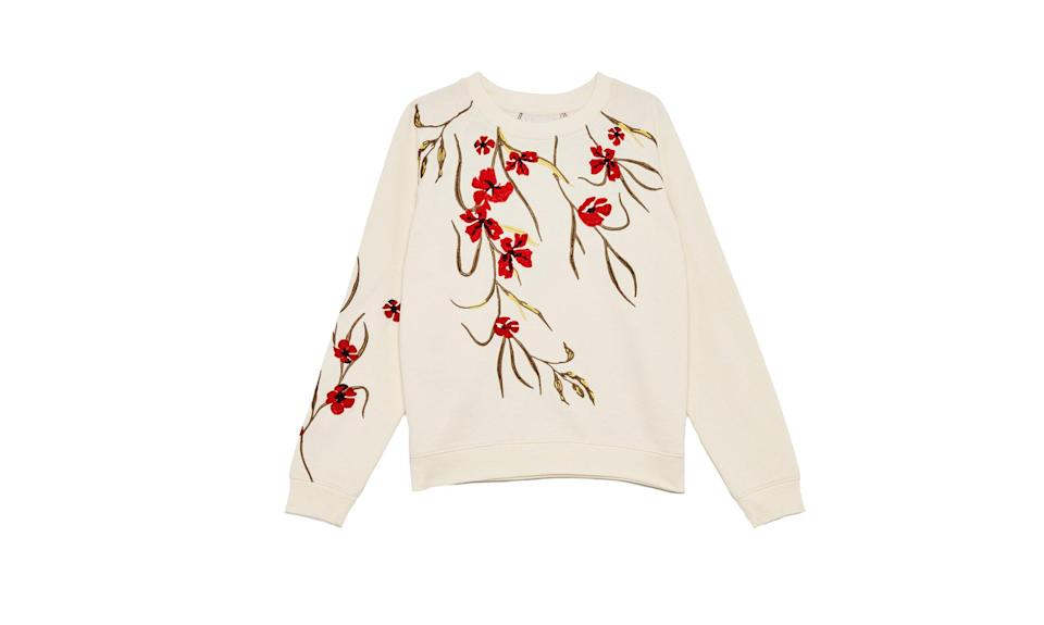 "<p>This beautiful floral sweater is stylish enough to be worn out to dinner but comfy enough to wear around the house.<br><br>Amaranth Sweater, $95, <a href=""https://www.aritzia.com/us/en/product/amaranth-sweater/67199.html?dwvar_67199_color=14365"" rel=""nofollow noopener"" target=""_blank"" data-ylk=""slk:aritzia.com"" class=""link rapid-noclick-resp"">aritzia.com</a> </p>"