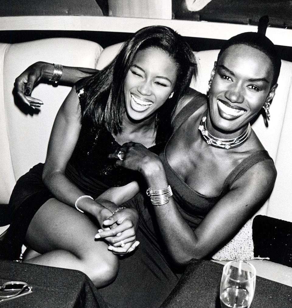 <p>Smiling and laughing at New York's Stringfellow's nightclub, supermodels Campbell and Jones celebrated Jones' 42nd birthday on May 21, 1990.</p>