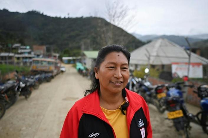 Death is a constant companion for indigenous defenders of nature in violence-ridden Colombia, and Celia Umenza has already survived three attempts on her life (AFP/LUIS ROBAYO)