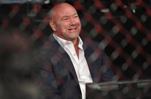 UFC president Dana White congratulates Bryce Mitchell (not pictured) after his victory during the UFC 249 event at VyStar Veterans Memorial Arena on May 9, 2020 in Jacksonville, Florida. (Photo by Jeff Bottari/Zuffa LLC)