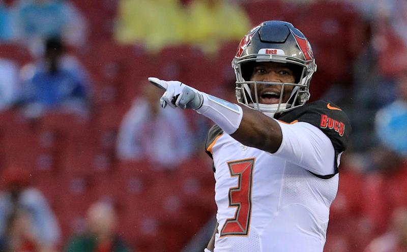 TAMPA, FLORIDA - AUGUST 16: Jameis Winston #3 of the Tampa Bay Buccaneers makes a call at the line against the Miami Dolphins in the first quarter during the preseason game at Raymond James Stadium on August 16, 2019 in Tampa, Florida. (Photo by Mike Ehrmann/Getty Images)