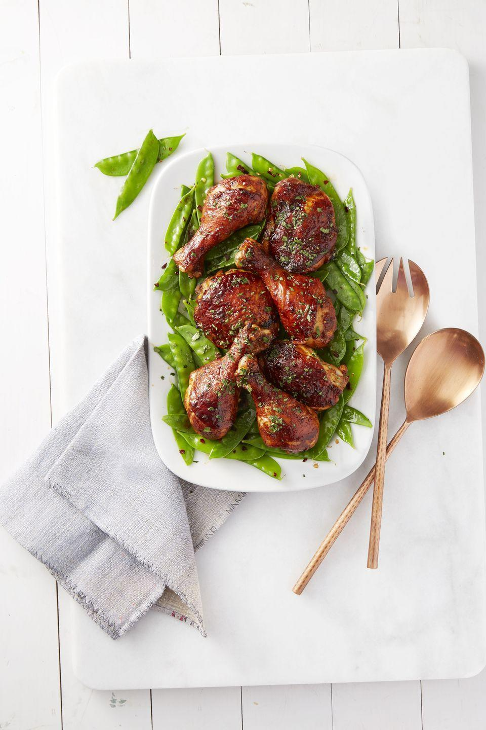 "<p>The messier the food, the tastier. Get the wet wipes out for this one. </p><p><em><a href=""https://www.goodhousekeeping.com/food-recipes/a38402/sweet-sticky-chicken-with-snow-peas-recipe/"" rel=""nofollow noopener"" target=""_blank"" data-ylk=""slk:Get the recipe for Sweet and Sticky Chicken With Snow Peas »"" class=""link rapid-noclick-resp"">Get the recipe for Sweet and Sticky Chicken With Snow Peas »</a></em></p>"