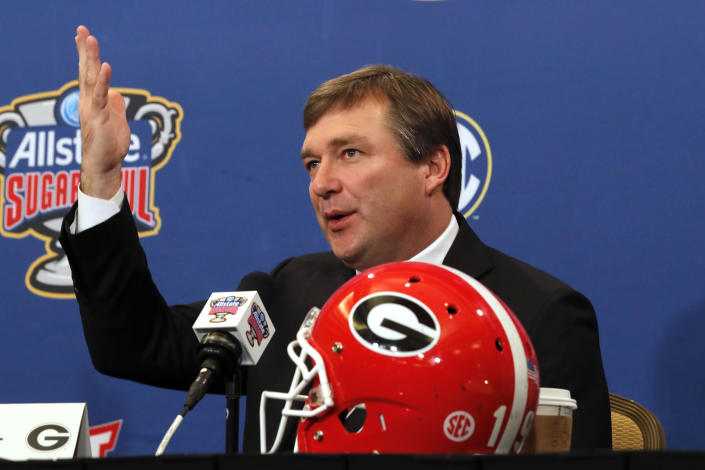 FILE - Georgia head coach Kirby Smart talks to reporters during a Sugar Bowl NCAA college news conference in New Orleans, in this Tuesday, Dec. 31, 2019, file photo. The National signing day period begins Wednesday, Feb. 3, 2021.(AP Photo/Gerald Herbert, File)