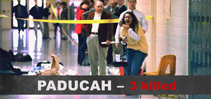 A Heath High School student screams at the scene of a shooting at the school, Dec. 1, 1997, which left three students dead and five wounded. (Photo: Steve Nagy/The Paducah Sun/AP)