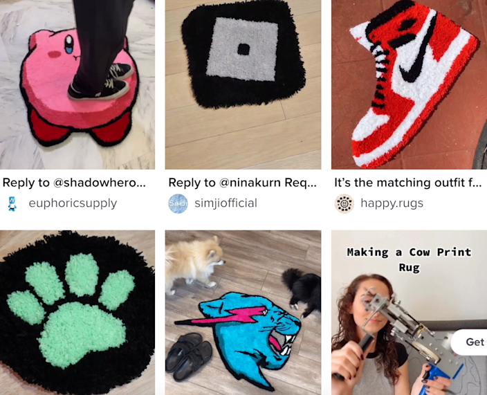As all these video thumbnails show, TikTok's new DIY tufted rug trend is really taking off.