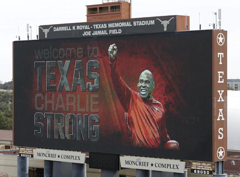 A welcome sign is displayed on the scoreboard at Darrell K Royal–Texas Memorial Stadium for new Texas NCAA college football coach Charlie Strong, Monday, Jan. 6, 2014, in Austin, Texas. Strong replaces Mack Brown, who coached Texas for 16 years and won the 2005 national championship. Strong spent the previous four years at Louisville. (AP Photo/Eric Gay)