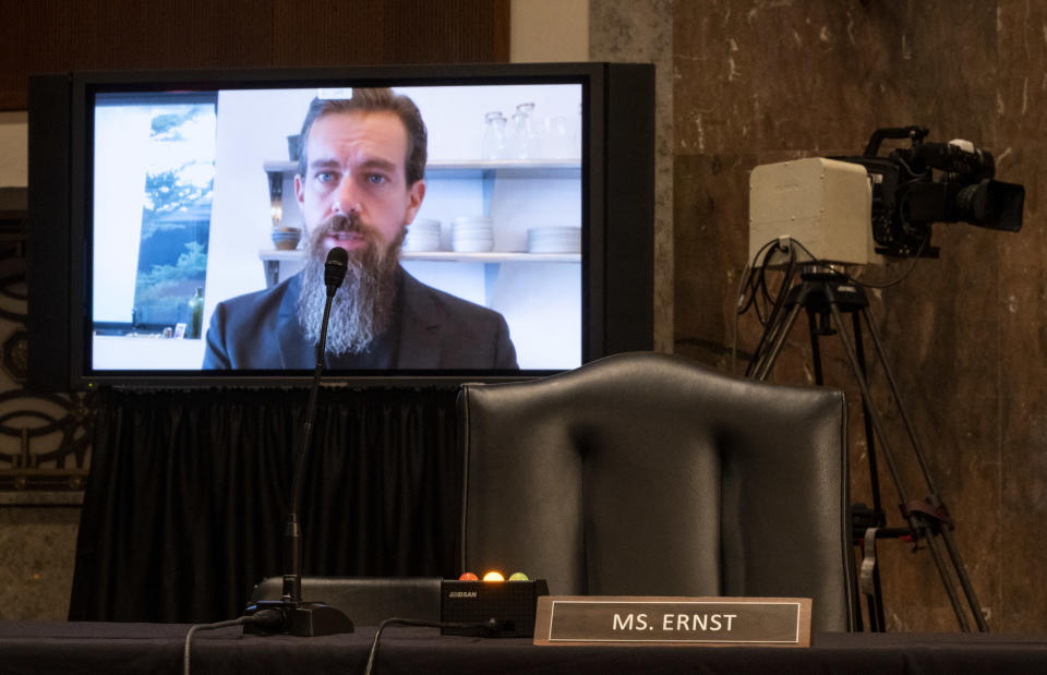 """WASHINGTON, DC - NOVEMBER 17: Jack Dorsey, Chief Executive Officer of Twitter, testifies remotely during the Senate Judiciary Committee hearing on """"Breaking the News: Censorship, Suppression, and the 2020 Election"""" on November 17, 2020 in Washington, DC. Facebook CEO Mark Zuckerberg and Twitter CEO Jack Dorsey are scheduled to testify remotely.(Photo By Bill Clark-Pool/Getty Images)"""