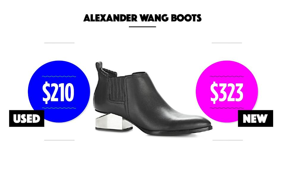 "<p>Used condition: $139-$210<br> New condition: $261-$323<br>Kori oxfords with silver metal heel, $595, <a href=""http://www.alexanderwang.com/us/shop/women/shoes-boots-kori-oxford-with-silver-metal-heel_cod11191692fe.html#dept=vwllshsw"" rel=""nofollow noopener"" target=""_blank"" data-ylk=""slk:alexanderwang.com"" class=""link rapid-noclick-resp"">alexanderwang.com</a><br>eBay options: <a href=""http://www.ebay.com/sch/i.html?LH_BIN=1&_from=R40&_trksid=p2045573.m570.l2632.R2.TR9.TRC1.A0.H0.Xalexander+wang+boots.TRS0&_nkw=alexander+wang+boots&_sacat=3034&_oac=1"" rel=""nofollow noopener"" target=""_blank"" data-ylk=""slk:Alexander Wang"" class=""link rapid-noclick-resp"">Alexander Wang</a><br>(Data courtesy of eBay) </p>"