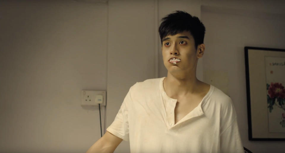 """Singer-actor Nathan Hartono plays a zombie in """"When Ghost Meets Zombie""""."""