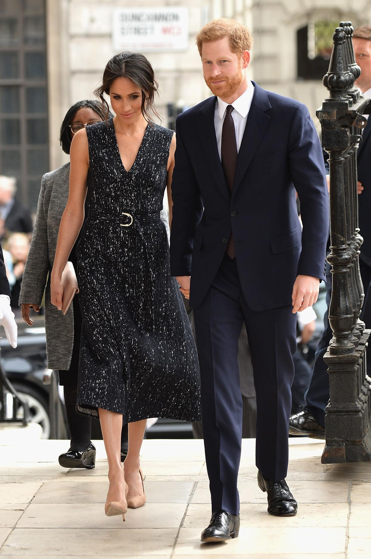 Prince Harry and the former actress attend the 25th Anniversary Memorial Service to celebrate the life and legacy of Stephen Lawrence at St. Martin-in-the-Fields on April 23 in London.
