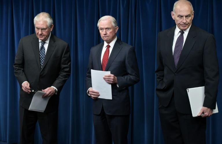 US Secretary of State Rex Tillerson, Attorney General Jeff Sessions, and Homeland Security Secretary John Kelly arrive to deliver remarks on visa travel at the US Customs and Border Protection Press Room on March 6, 2017 in Washington, DC