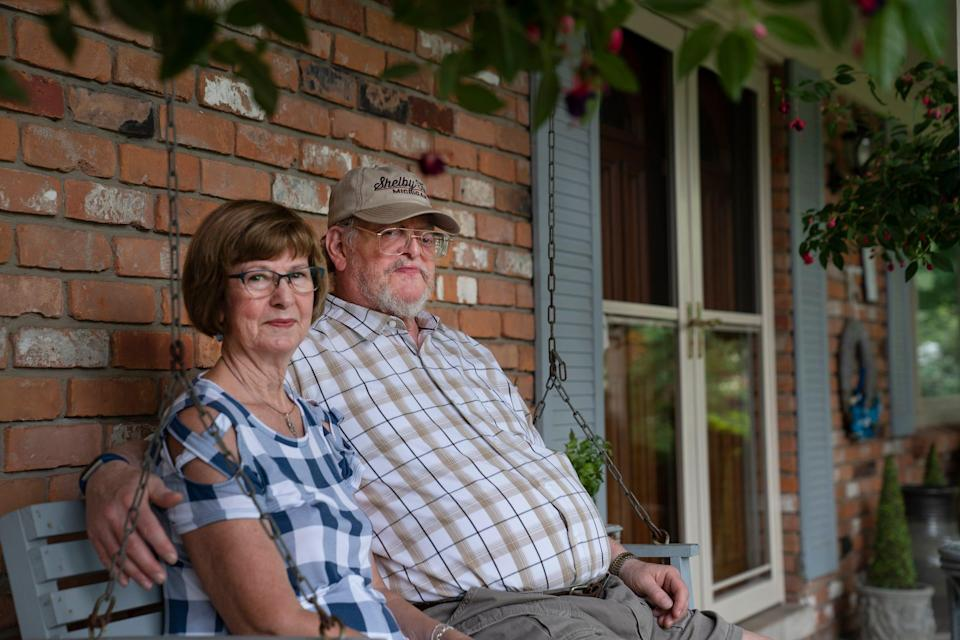 Janice and James Hanlon of Shelby Township both 71, sit at their home Wednesday, July 7, 2021. The couple has been waiting since March of 2020 for their income tax refund. James Hanlon is concerned he may have made a mistake with the Recovery Rebate Credit now when he used TurboTax.