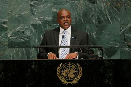 FILE PHOTO: The then vice president of the Republic of Botswana, Mokgweetsi Eric Keabetswe Masisi, addresses the United Nations General Assembly at U.N. headquarters in New York, Sept. 21, 2017. REUTERS/Lucas Jackson/File Photo