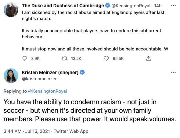 Tweet about Prince William and Meghan Markle