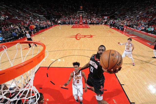 HOUSTON, TX - JANUARY 11 : James Harden #13 of the Houston Rockets goes up for layup against the Cleveland Cavaliers on January 11, 2019 at the Toyota Center in Houston, Texas. (Photo by Bill Baptist/NBAE via Getty Images)