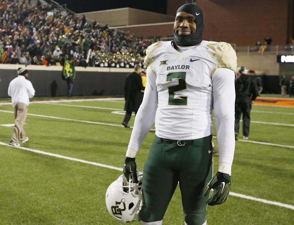 Baylor defensive end Shawn Oakman (2) is pictured after an NCAA college football game against Oklahoma State in Stillwater, Okla., Saturday, Nov. 21, 2015. Baylor won 45-35. (AP Photo/Sue Ogrocki)