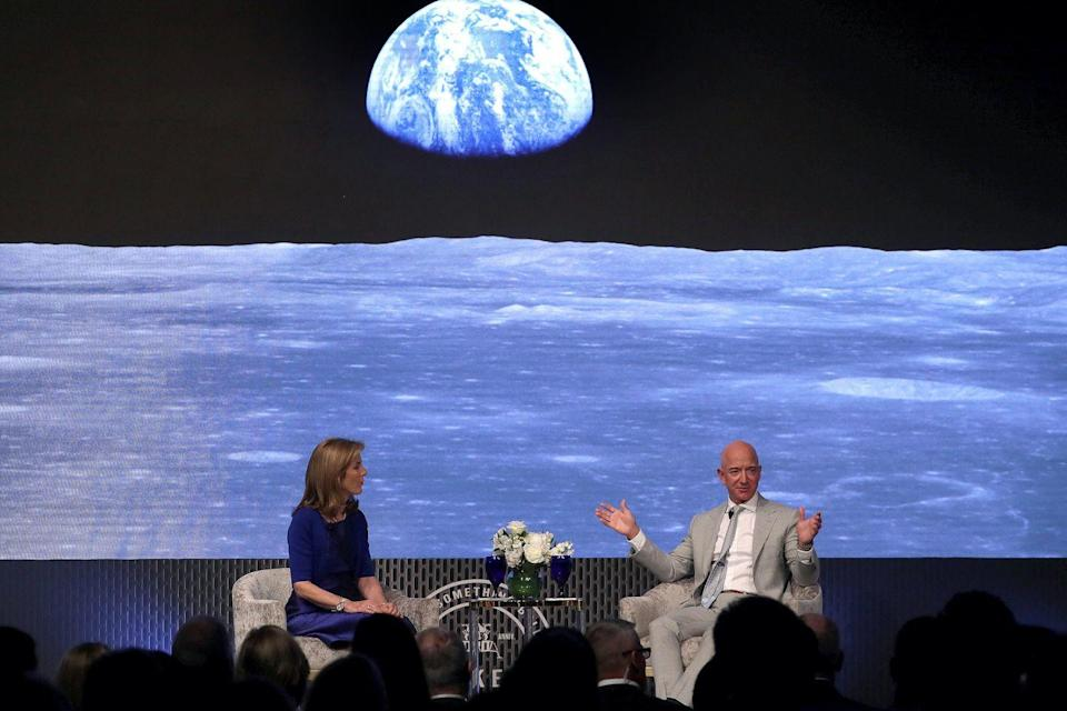 <p>Caroline Kennedy and Amazon founder Jeff Bezos speak at a conference about the 1969 moon landing at the John F. Kennedy Presidential Library in Massachusetts. <br></p>