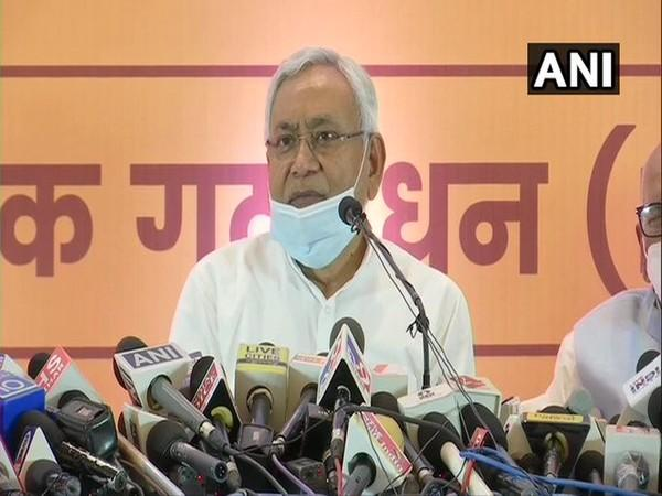 Bihar Chief Minister Nitish Kumar speaking to reporters in Patna on Tuesday.