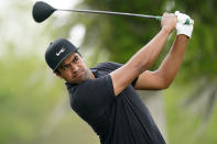 Tony Finau hits off the second tee during the third round of the PGA Zurich Classic golf tournament at TPC Louisiana in Avondale, La., Saturday, April 24, 2021. (AP Photo/Gerald Herbert)