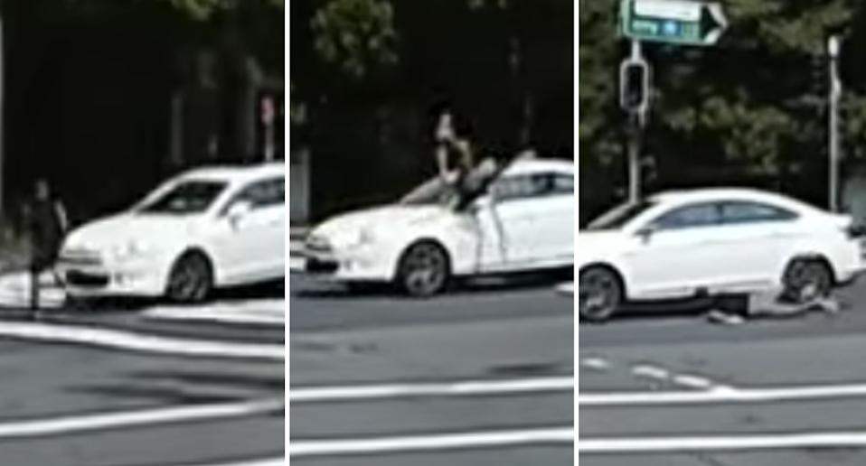 A man is pictured being hit by a car in Chatswood.