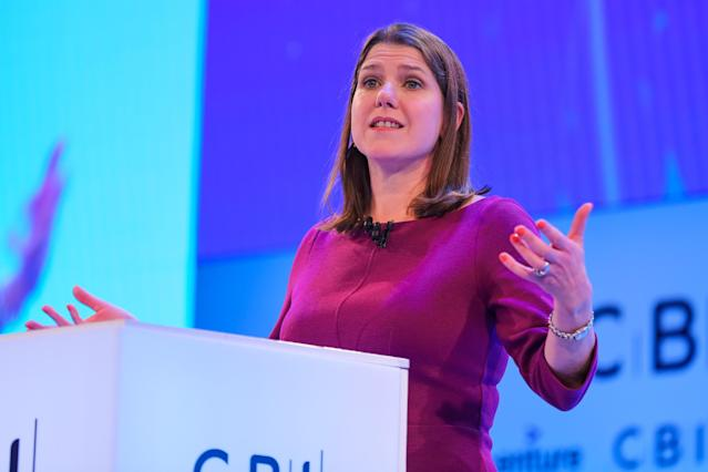 Leader of the Liberal Democrats, Jo Swinson makes a keynote speech at the annual CBI conference in London on 18 November. Photo: Anadolu Agency via Getty Images