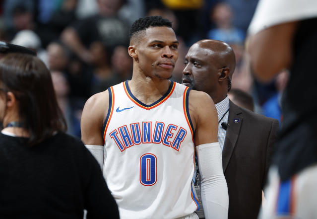 Oklahoma City Thunder guard Russell Westbrook reacts. (AP)
