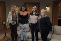 """This image released by Peacock shows Busy Philipps, from left, Renée Elise Goldsberry, Sara Bareilles and Paula Pell in """"Girls5eva."""" (Heidi Gutman/Peacock via AP)"""