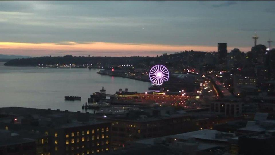 <p>The giant Ferris wheel at Pier 57 also was colored purple.<i> (Photo: Twitter)</i></p>
