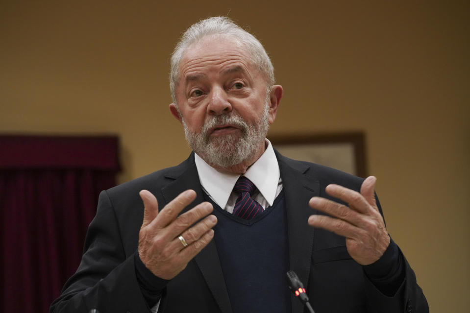 Brazilian former President Luiz Inacio Lula da Silva gestures during a meeting with Italian Cgil union, in Rome, Thursday, Feb. 13, 2020. Da Silva was released from prison in early November after 19 months in detention, when Brazil's Supreme Court ruled a person can be imprisoned only after all appeals have been exhausted. Da Silva, who governed Brazil from 2003 to 2010, denies wrongdoing and says corruption cases against him are politically motivated. (AP Photo/Andrew Medichini)
