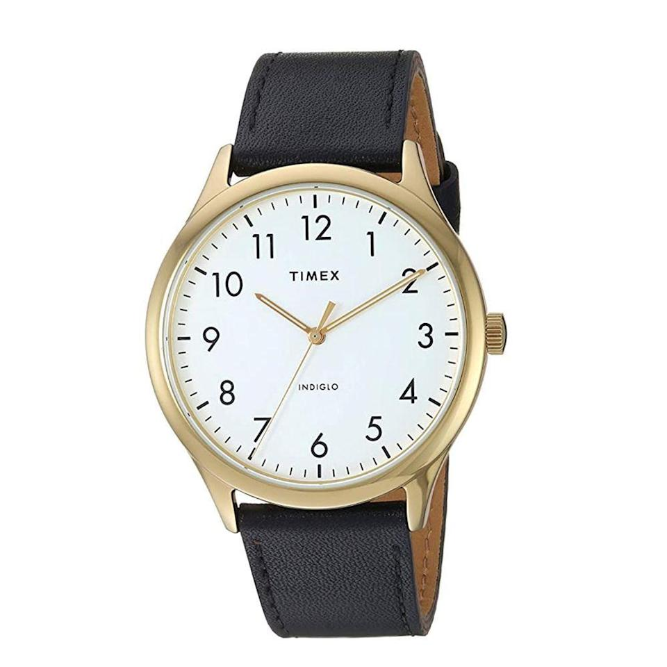 """<p><strong>Timex</strong></p><p>amazon.com</p><p><strong>$49.00</strong></p><p><a href=""""https://www.amazon.com/dp/B07V6H4Q9D?tag=syn-yahoo-20&ascsubtag=%5Bartid%7C2139.g.36673991%5Bsrc%7Cyahoo-us"""" rel=""""nofollow noopener"""" target=""""_blank"""" data-ylk=""""slk:BUY IT HERE"""" class=""""link rapid-noclick-resp"""">BUY IT HERE</a></p><p>With thinner, more modern lettering than other Timex watches, this watch goes with everything and is easy to read. It's also water-resistant up to 30 meters, relatively scratch-resistant, and has an Indiglo background so you can tell time in the dark. </p>"""