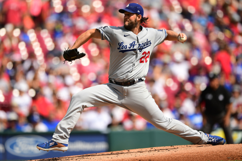 CINCINNATI, OHIO - SEPTEMBER 19: Clayton Kershaw #22 of the Los Angeles Dodgers pitches in the first inning.