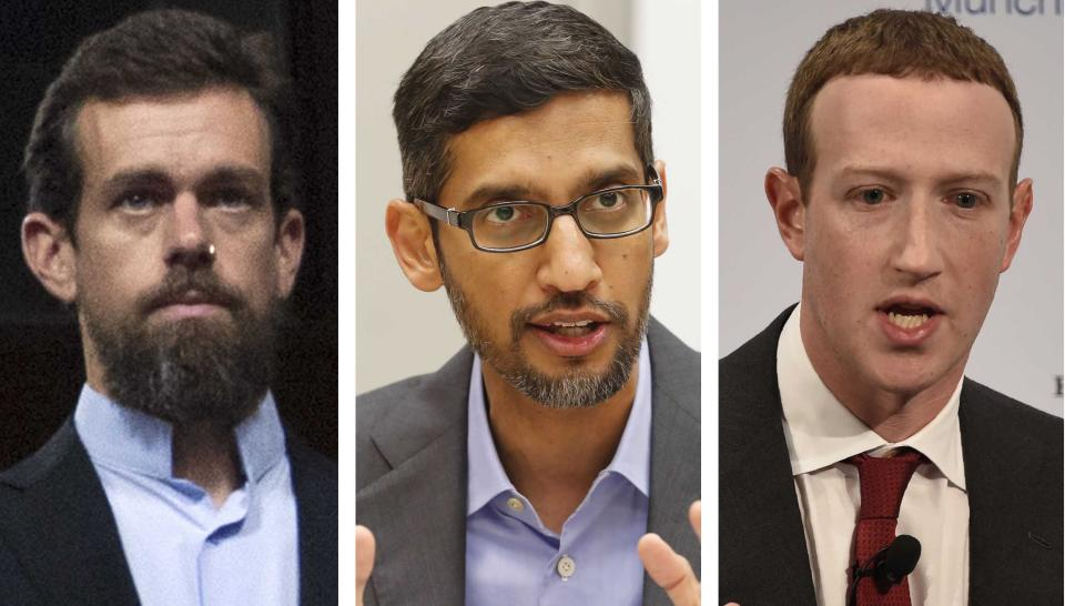 This combination of photos shows from left, Twitter CEO Jack Dorsey, Google CEO Sundar Pichai, and Facebook CEO Mark Zuckerberg. After an angry mob of President Donald Trump supporters took control of the U.S. Capitol in a violent insurrection, Selena Gomez laid much of the blame at the feet of Big Tech. It's the latest effort by the 28-year-old actress-singer to draw attention to the danger of internet companies critics say have profited from misinformation and hate on their platforms.(AP Photo/Jose Luis Magana, LM Otero, Jens Meyer)