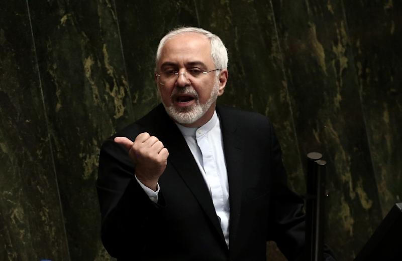 Iran's Foreign Minister Mohammad Javad Zarif speaks in parliament in Tehran on July 21, 2015, to defend the Vienna accord on Iran's nuclear programme