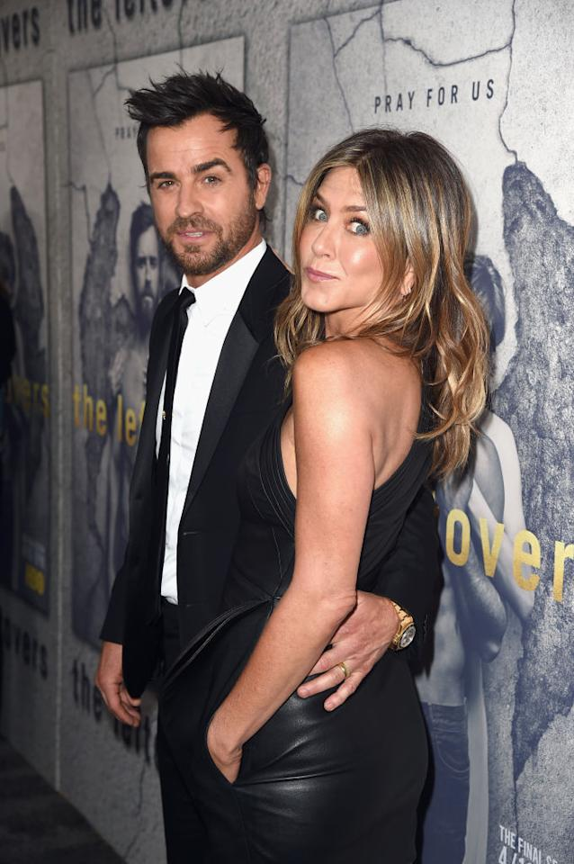 """<p><b>When: April 4, 2017 <br /></b>Jennifer Aniston showed off her svelte physique in an ultra-sexy Brandon Maxwell leather one sleeve mini dress at the Season 3 Hollywood premiere of HBO's """"The Leftovers"""" on Tuesday night… </p>"""