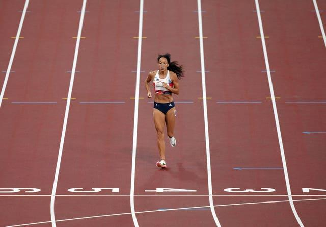 Great Britain's Katarina Johnson-Thompson reacts after picking up an injury in the 200m of the Women's heptathlon