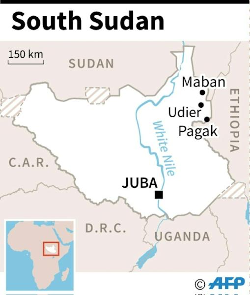 Map of South Sudan locating Udier, Maban and Pagak