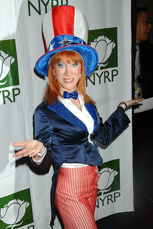 "You can't get more patriotic than Kathy Griffin's snazzy Uncle Sam costume! Demis Maryannakis/<a href=""http://www.splashnewsonline.com"" target=""new"">Splash News</a> - October 31, 2008"