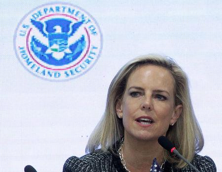 Homeland Security Kirstjen Nielsen speaks beside Honduras&#39 President Juan Orlando Hernandez during a multilateral meeting at the Honduran Ministry of Security in Tegucigalpa