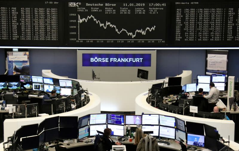 FILE PHOTO: The German DAX share price index graph at the stock exchange in Frankfurt
