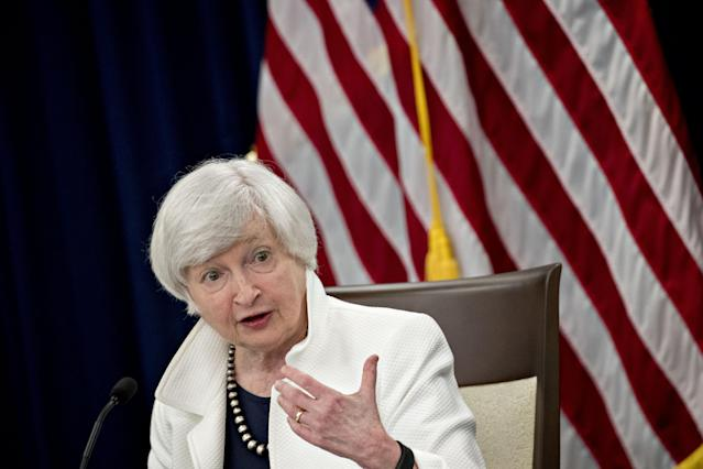 Janet Yellen, chair of the U.S. Federal Reserve, speaks during a news conference following a Federal Open Market Committee (FOMC) meeting in Washington, D.C., U.S., on Wednesday, Sept. 20, 2017. Photographer: Andrew Harrer/Bloomberg