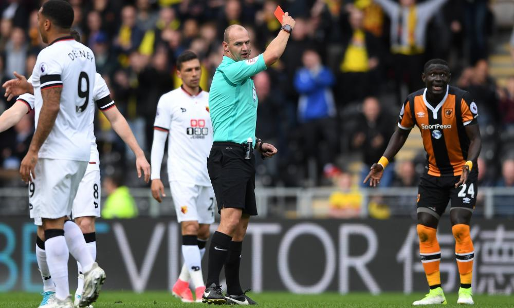 Hull City's Oumar Niasse is shown a red card during the Premier League game against Watford.