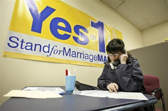 Miriam Conners of Stand for Marriage Maine calls supporters to remind them to vote in Yarmouth, Maine, November 3, 2009. The group is looking to repeal Maine's gay marriage law, which was adopted last spring by the Legislature.