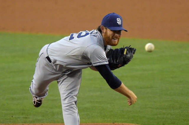 San Diego Padres starting pitcher Ian Kennedy throws to the plate during the second inning of a baseball game against the Los Angeles Dodgers, Saturday, July 12, 2014, in Los Angeles. (AP Photo/Mark J. Terrill)