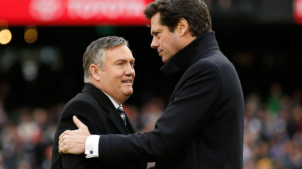 Eddie McGuire and Gillon McLachlan, pictured here after the 2018 AFL Grand Final.