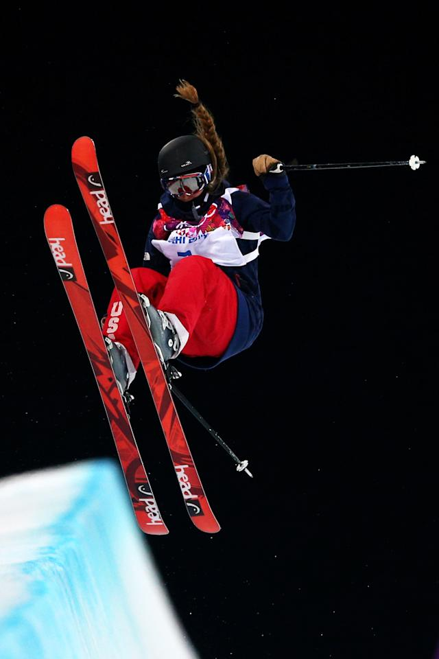 SOCHI, RUSSIA - FEBRUARY 20: Maddie Bowman of the United States competes in the Freestyle Skiing Ladies' Ski Halfpipe Finals on day thirteen of the 2014 Winter Olympics at Rosa Khutor Extreme Park on February 20, 2014 in Sochi, Russia. (Photo by Cameron Spencer/Getty Images)